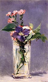 Pinks and Clematis in a Crystal Vase 1882 - Edouard Manet reproduction oil painting