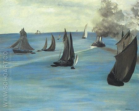 Steamboat Seascape or Sea View Calm Weather c1864 - Edouard Manet reproduction oil painting