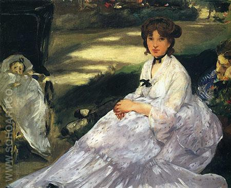 In the Garden 1870 - Edouard Manet reproduction oil painting