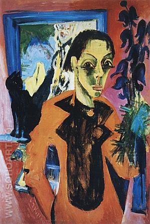 Self-Portrait with a Cat, 1919/20 - Ernst Kirchner reproduction oil painting