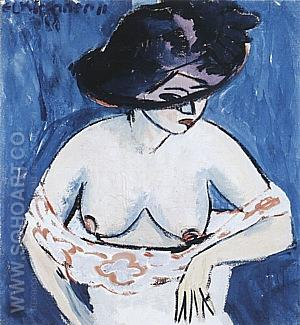 Female Nude with Hat, 1911 - Ernst Kirchner reproduction oil painting