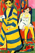 Self-Portrait with Model, 1910/1926 - Ernst Kirchner reproduction oil painting