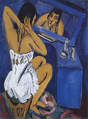 Toilette; Woman in front of a Mirror, 1913/1920 - Ernst Kirchner reproduction oil painting