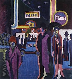 Street Scene at Night, 1926-27 - Ernst Kirchner reproduction oil painting