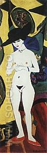 Standing Nude with Hat, 1910/1920 - Ernst Kirchner reproduction oil painting