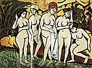 Five Bathers by a Lake, 1911 - Ernst Kirchner reproduction oil painting