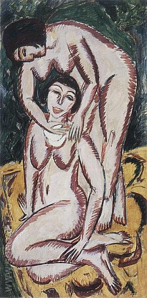 Two Female Nudes on a Vertical Format, 1911 - Ernst Kirchner reproduction oil painting