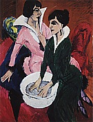 Two women with a Washbasin, 1913 - Ernst Kirchner reproduction oil painting