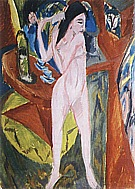 Nude Combing her Hair, 1913 - Ernst Kirchner reproduction oil painting