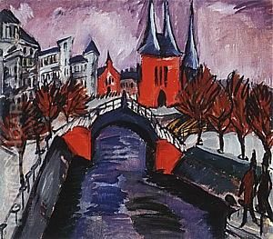 Red Elisabeth Embankment, Berlin, 1912 - Ernst Kirchner reproduction oil painting