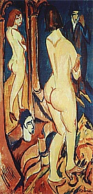 Nude Viewed from the Back with Mirror and Man, 1912 - Ernst Kirchner reproduction oil painting