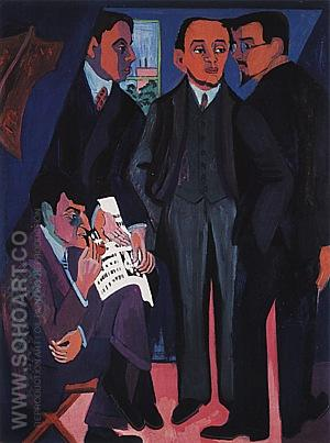 An Artist'Group: Otto Mueller, Kirchner, Heckel, Schmidt-Rottluff, 1926/27 - Ernst Kirchner reproduction oil painting