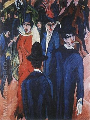 Berlin Street Scene, 1913 - Ernst Kirchner reproduction oil painting