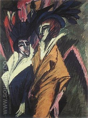 Two Women in the Street, 1914 - Ernst Kirchner reproduction oil painting