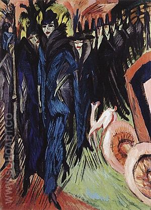 Friedrichstrasse, Berlin, 1914 - Ernst Kirchner reproduction oil painting