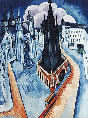The Red Tower in Halle, 1915 - Ernst Kirchner reproduction oil painting