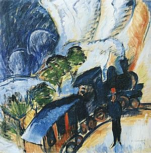 Konigstein Railway Station, 1917 - Ernst Kirchner reproduction oil painting