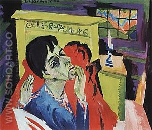 Self-Portrait as a Sick Man, 1918/1920 - Ernst Kirchner reproduction oil painting