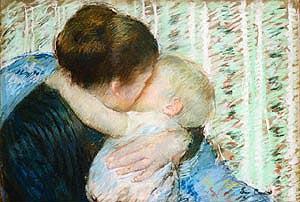 A Goodnight Hug - Mary Cassatt reproduction oil painting