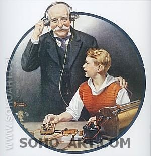 Grandpa Listening In on the Wireless, 1920 - Fred Scraggs reproduction oil painting