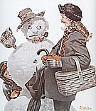 Grandfather and Snowman, 1919 - Fred Scraggs reproduction oil painting