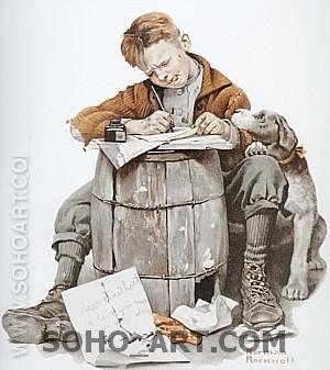 Little Boy Writing Letter, 1920 - Fred Scraggs reproduction oil painting