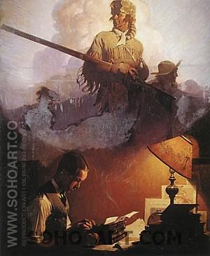 And Daniel Boone Comes to Life on the Underwood Portable, 1923 - Fred Scraggs reproduction oil painting
