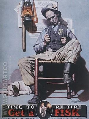 Time to Retire: Sleeping Sheriff, 1924 - Fred Scraggs reproduction oil painting
