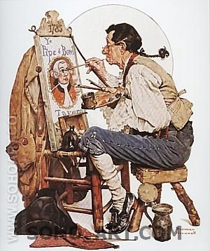 Pipe and Bowl Sign Painter, 1926 - Fred Scraggs reproduction oil painting