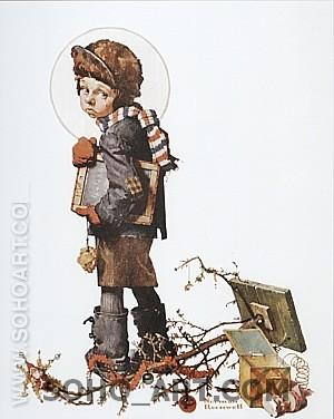 Little Boy Holding Chalk Board, 1927 - Fred Scraggs reproduction oil painting