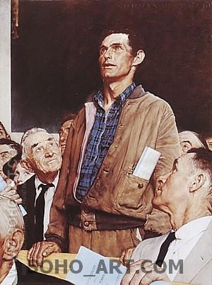 Freedom of Speech, 1943 - Fred Scraggs reproduction oil painting