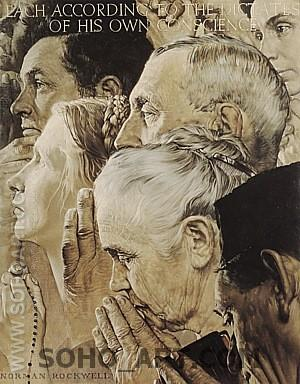 Freedom to Worship, 1943 - Fred Scraggs reproduction oil painting