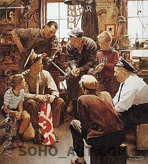Homecoming Marine, 1945 - Fred Scraggs reproduction oil painting