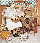Thanksgiving: Mother and Son Peeling Potatoes, 1945 - Fred Scraggs reproduction oil painting