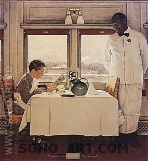 Boy in Dining Car, 1946 - Fred Scraggs reproduction oil painting