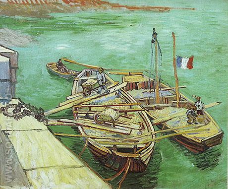 Unloading Sand, 1888 - Vincent van Gogh reproduction oil painting
