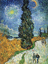 Road with Cypress and a Star, 1890 - Vincent van Gogh reproduction oil painting
