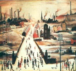 The Canal Bridge - L-S-Lowry reproduction oil painting