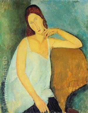 Portrait of Jeanne Hebuterne(sitting) 1918 - Amedeo Modigliani reproduction oil painting