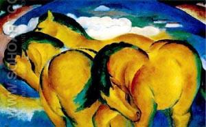 Yellow Horses - Franz Marc reproduction oil painting