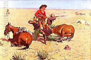 Caught in the Circle - Frederic Remington reproduction oil painting