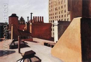 City Roofs, 1932 - Edward Hopper reproduction oil painting