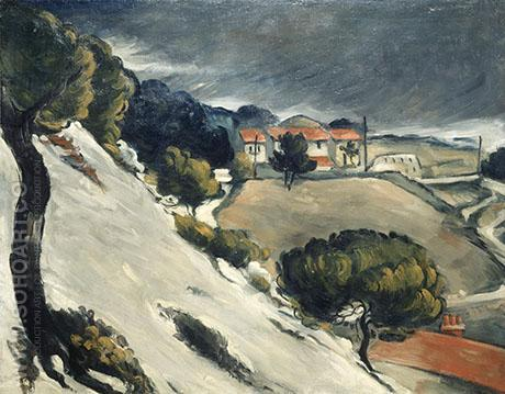 Snow Thaw in L'Estaque c1870 - Paul Cezanne reproduction oil painting