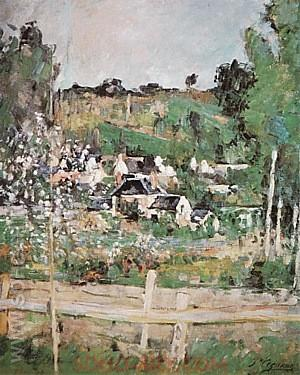View of Auvers-sur-Oise-The Fence, 1873 - Paul Cezanne reproduction oil painting