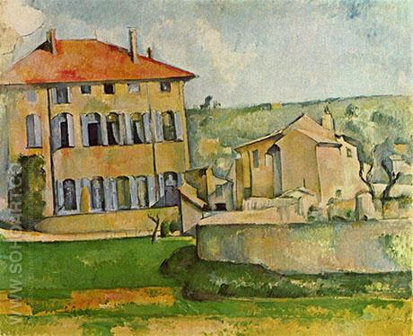 House and Farm at Jas de Bouffan - Paul Cezanne reproduction oil painting