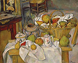 Kitchen Table (Still-life with Basket) - Paul Cezanne reproduction oil painting