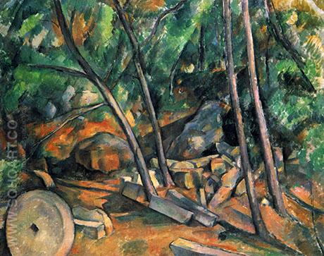 Woods with Millstone - Paul Cezanne reproduction oil painting