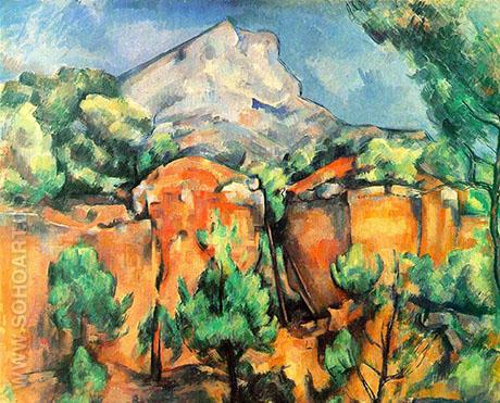 Mont Sainte-Victoire Seen from Bibemus Quarry - Paul Cezanne reproduction oil painting