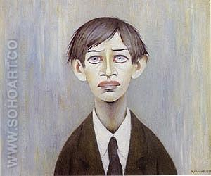 Portrait of a Young Man 1955 (Man with the red eyes) - L-S-Lowry reproduction oil painting