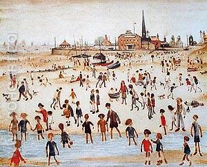At the Seaside 1946 - L-S-Lowry reproduction oil painting